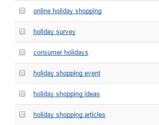 کلمه کلیدی مرتبط با holiday shopping