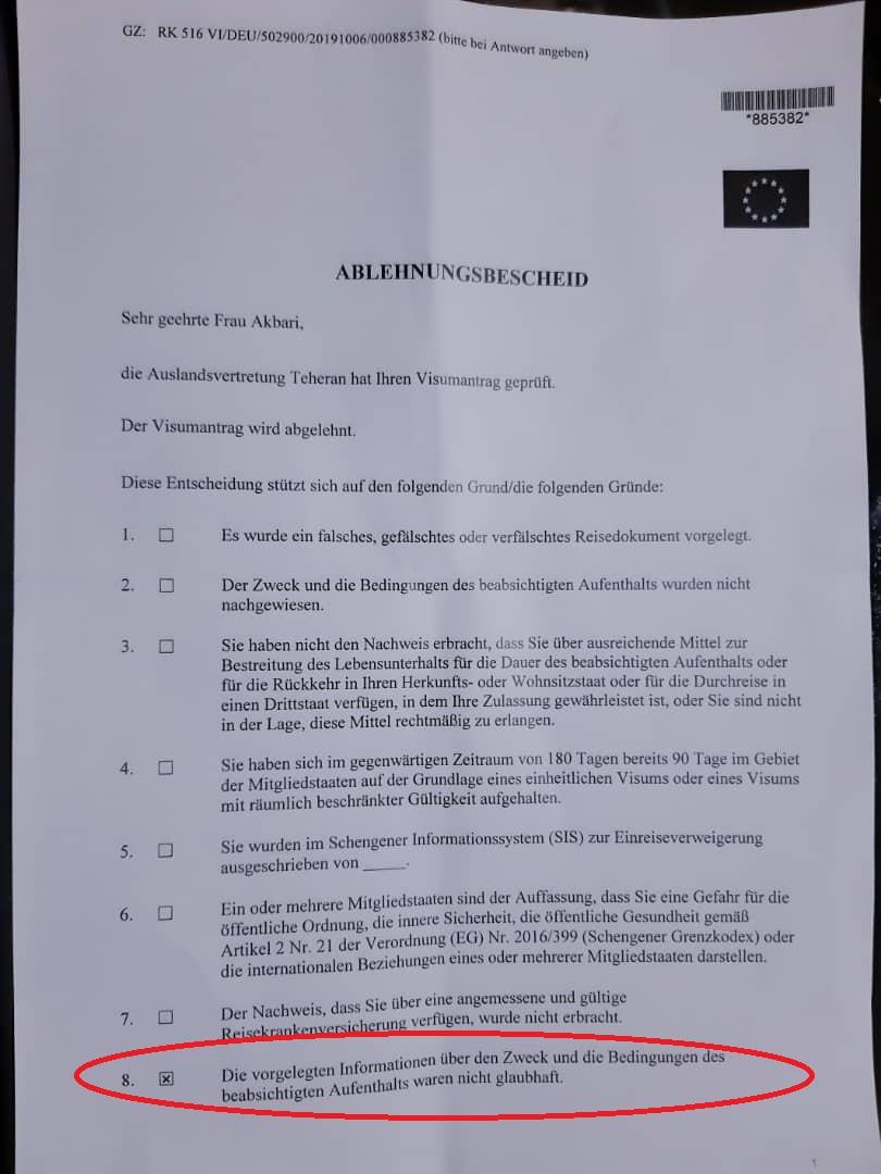 نسخه آلمانی علت رد شدن ویزای خانم اکبری