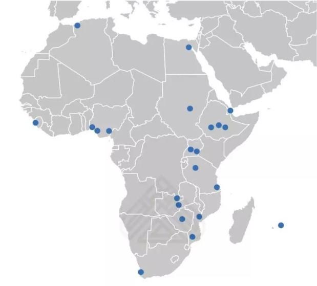 موقعیت مناطق آزاد تجاری و پارکهای صنعتی چین در قاره آفریقا (منبع WEF)