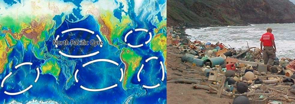 زباله های پلاستیکی در اقیانوس جمع می شوند و به دلیل جریانات دایره ای، نقش بزرگی در ایجاد جزیره زباله ای به نام تکه زباله اقیانوس آرام ایفا می کنند.